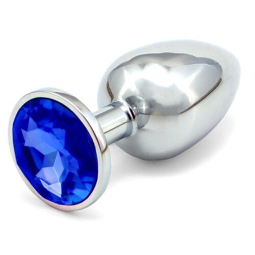 Větší anální kolíček s tmavě modrým krystalem