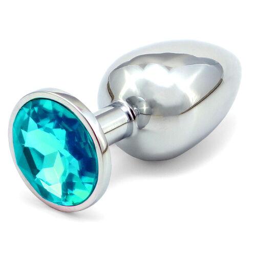 Větší anální kovový kolík se světle modrým krystalem