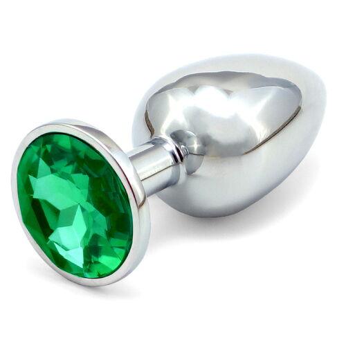 Větší anální kolík - tmavě zelený šperk