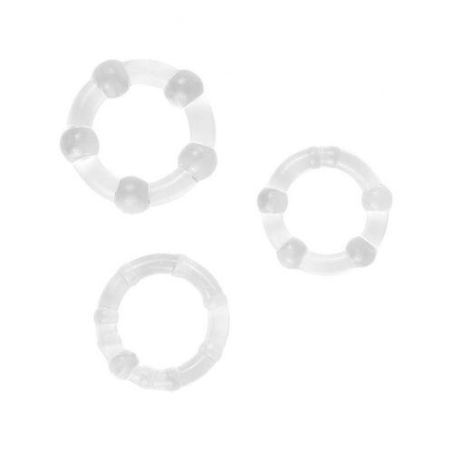 Stimulační průhledné kroužky na penis, 3 ks