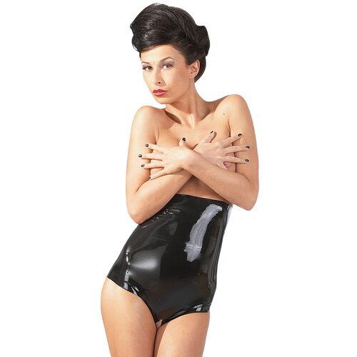 Černé latexové kalhotky s vysokým pasem (otevřený rozkrok)