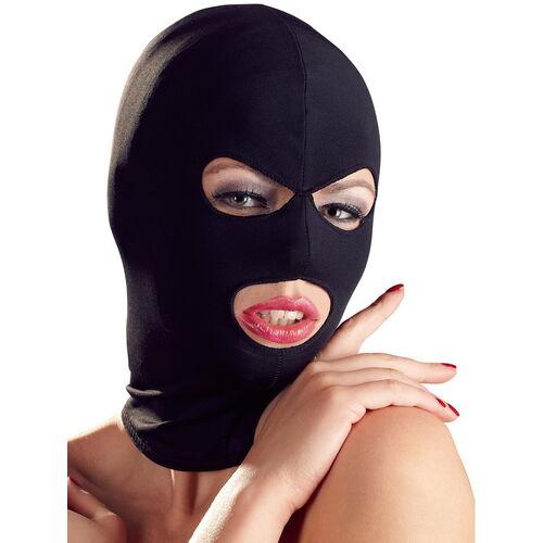 Černá maska s otvory pro oči a ústa