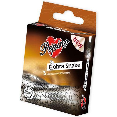 Kondomy Pepino Cobra Snake s motivem hadí kůže (3 ks)