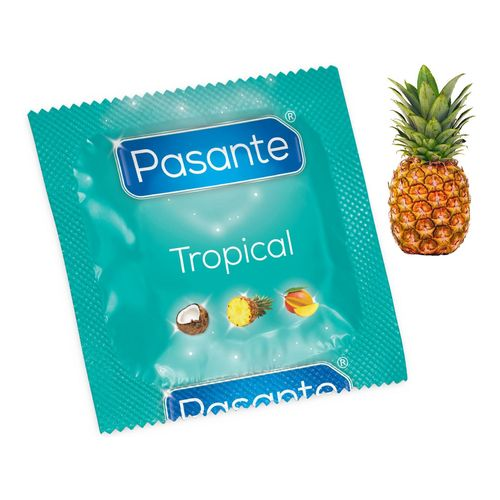 Kondom Pasante Tropical Pineapple s příchutí ananasu (1 ks)