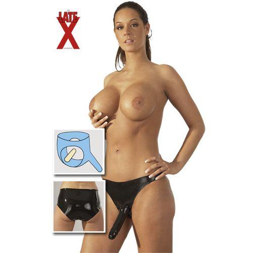 Dámské latexové kalhotky se 2 dildy