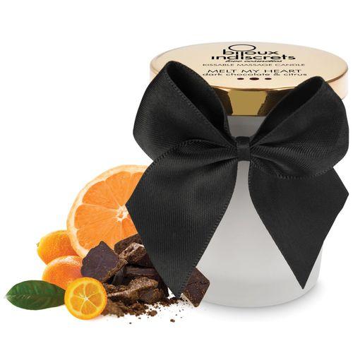 Svíčka na masáž Melt My Heart s chutí a vůní hořké čokolády a citrusů