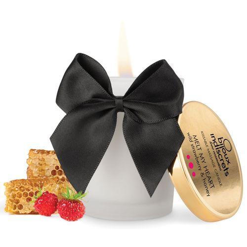 Svíčka na masáž Melt My Heart s chutí a vůní lesních jahod a medu