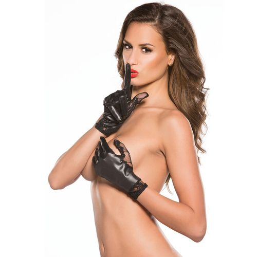 Černé rukavice ve wetlook stylu od Allure