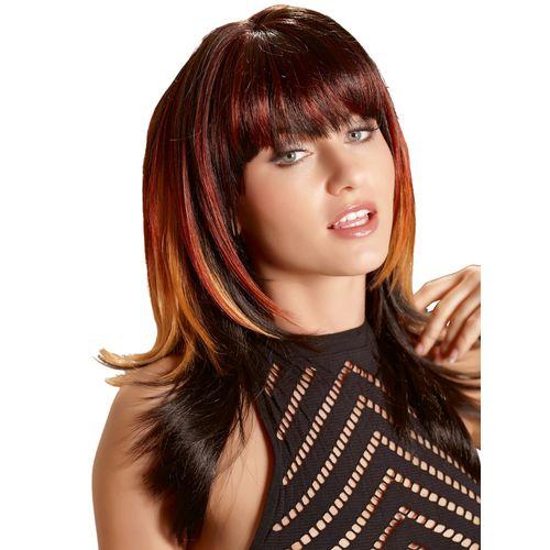 Paruka Lucy s dlouhými černými vlasy s melírem