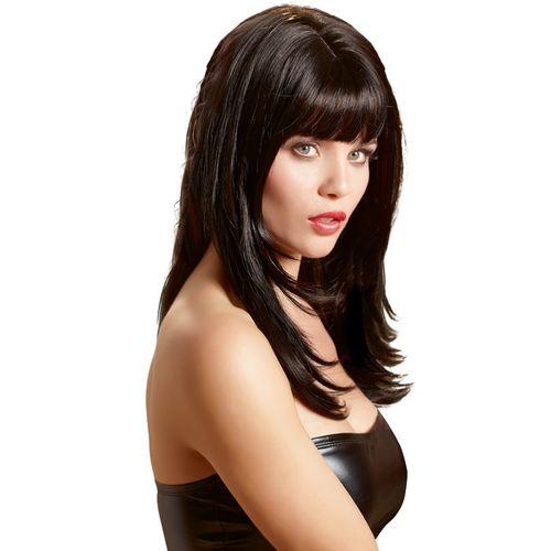 Černá paruka Carmen s ofinou a dlouhými vlasy