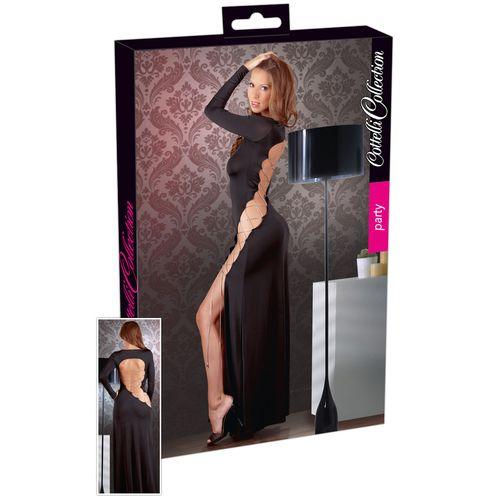 Černé dlouhé sexy šaty s rozparkem na boku