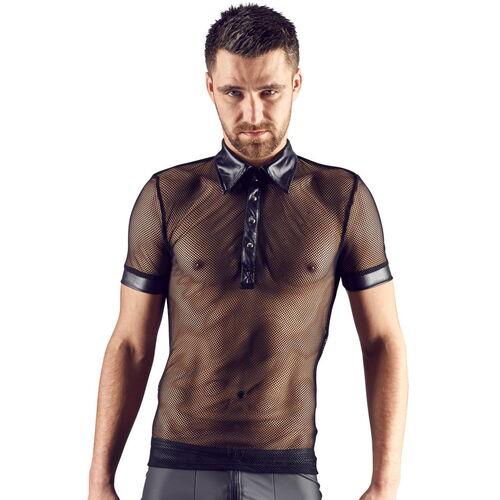 Síťované černé pánské tričko s lesklými detaily