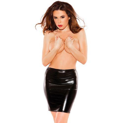 Delší černá lesklá sukně Sexy Siren
