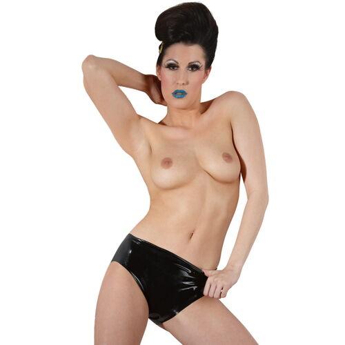 Černé latexové kalhotky s vaginálním dildem
