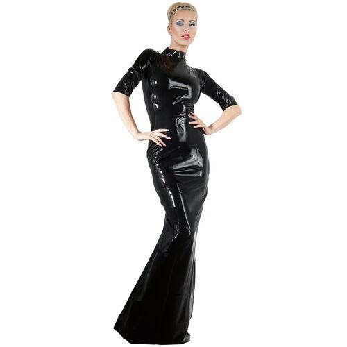 Dlouhé černé latexové šaty se stojacím límečkem