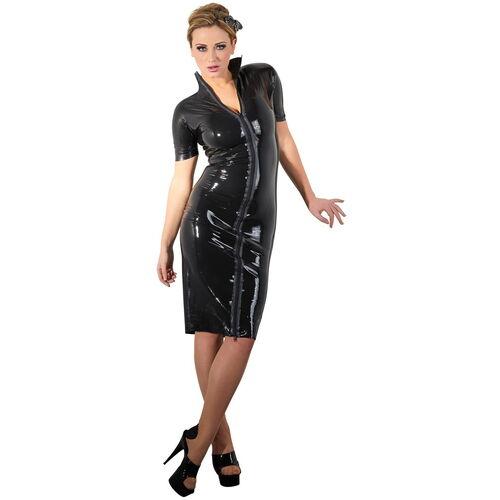 Latexové černé šaty úzkého střihu LateX