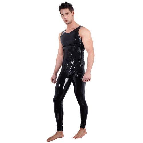 Pánský černý latexový overal bez rukávů