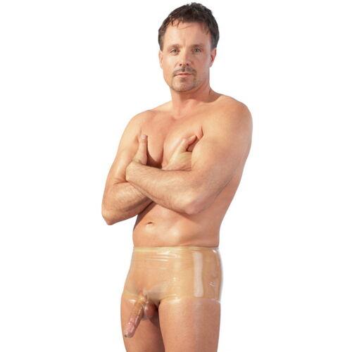 Latexové průhledné pánské boxerky s kapsou na penis a varlata