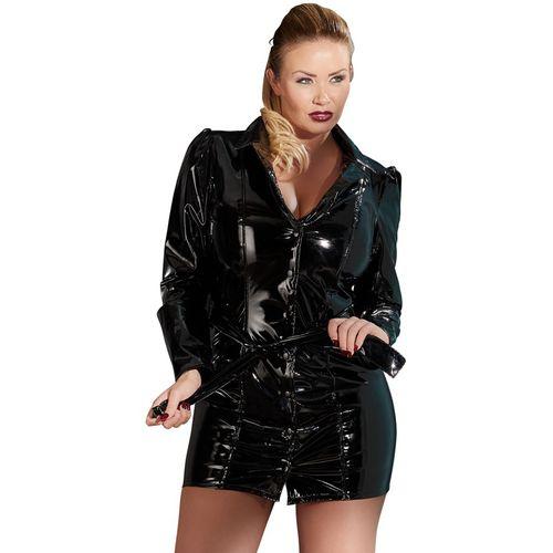 Lakované černé kabátové šaty (nadměrné velikosti)