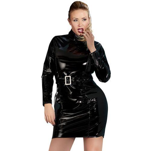 Lesklé černé šaty s dlouhými rukávy (nadměrné velikosti)