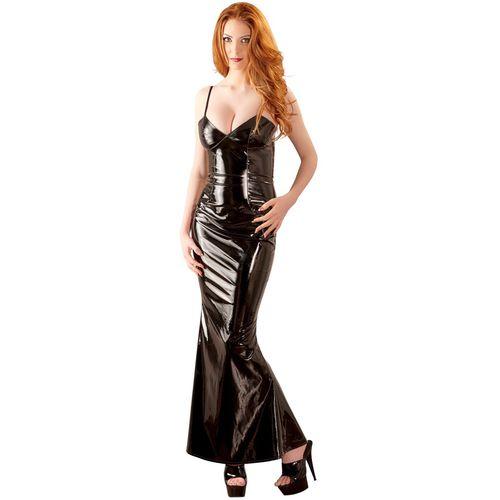 Dlouhé černé lakované šaty Black Level