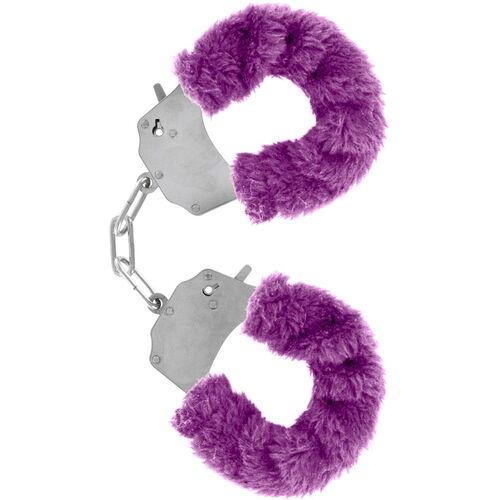 Kovová pouta na ruce s fialovým plyšovým kožíškem