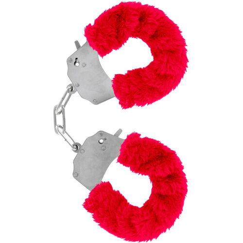 Kovová pouta na ruce s  červená plyšovým kožíškem