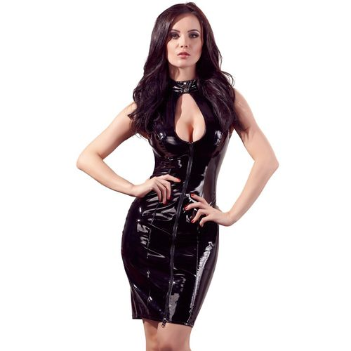 Lakované erotické šaty s límečkem