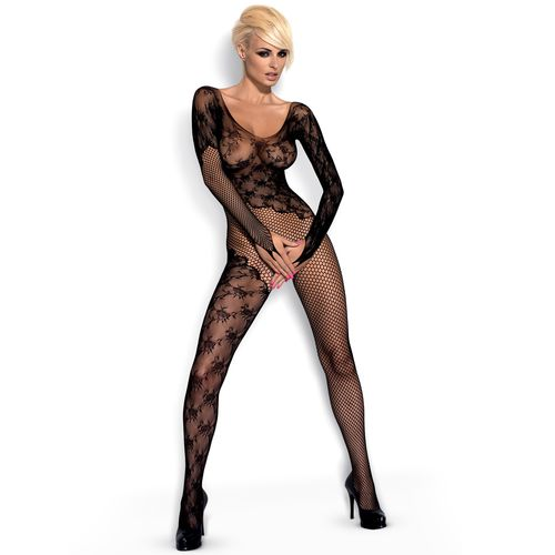 Síťovaný černý sexy catsuit s krajkou a otevřeným rozkrokem