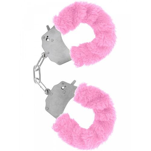 Kovová pouta na ruce s růžovým plyšovým kožíškem