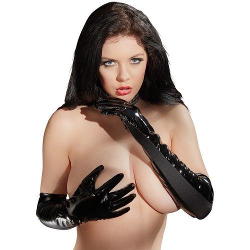 Lakované černé rukavice s elastickými vsadkami