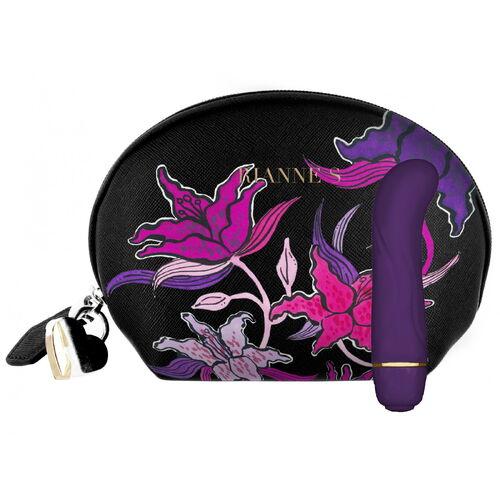 Malý vibrátorek na bod G Floral Deep Purple s taštičkou