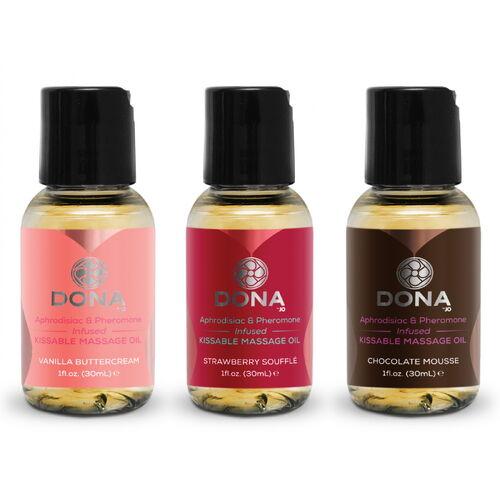Dárkový set masážních olejů DONA Flavored  (3x 30 ml)