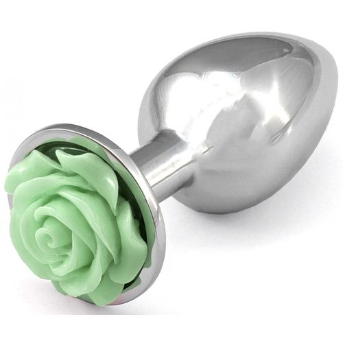Kovový anální kolík se světle zelenou růžičkou