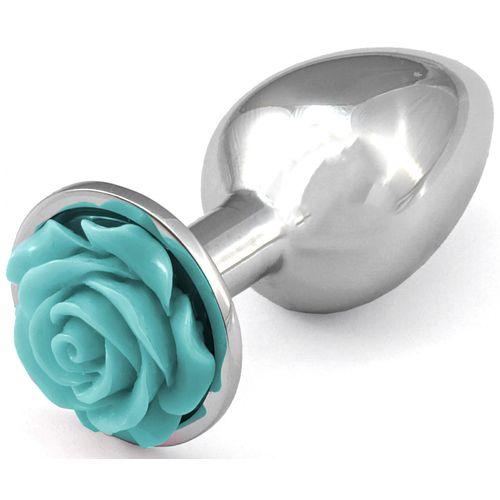 Kovový anální kolík se světle modrou růžičkou