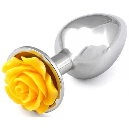 Kovový anální kolík se žlutou růžičkou