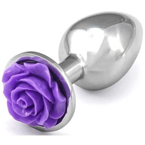 Kovový anální kolík s fialovou růžičkou