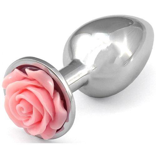 Kovový anální kolík se světle růžovou růžičkou