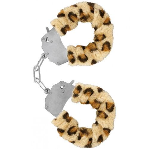 Kovová pouta s leopardním kožíškem