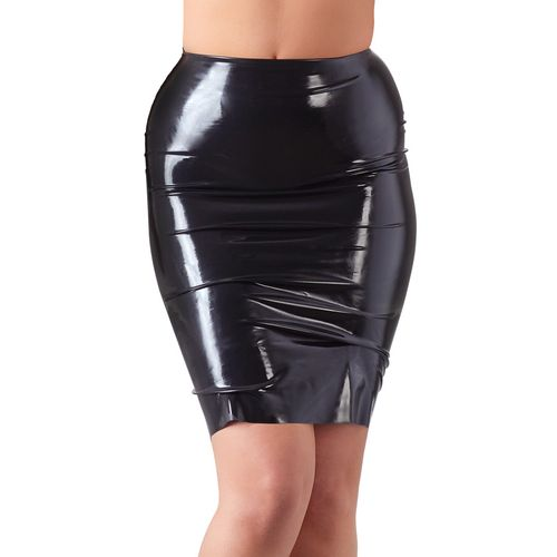 Černá latexová sukně nad kolena