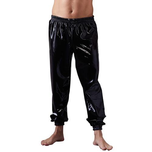 Volné černé latexové kalhoty