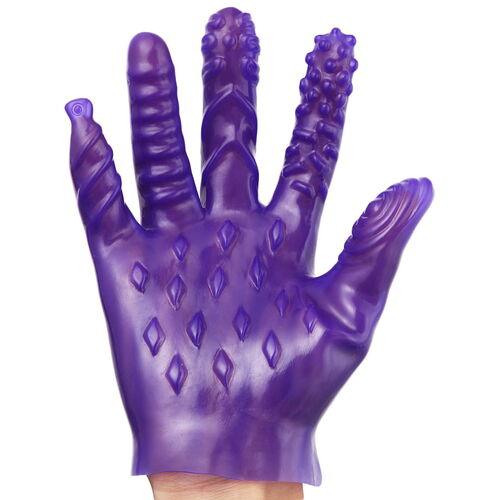 Masturbační fialové rukavice se stimulačními výstupky (1 ks)