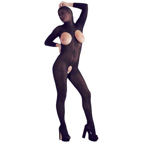 Černý catsuit s maskou, s odhalenými prsy a otevřeným rozkrokem