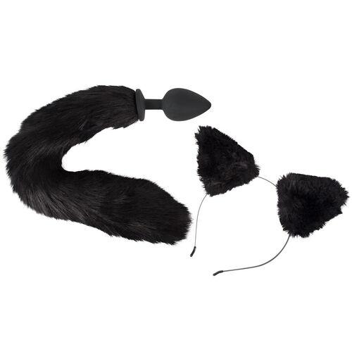 Anální kolík s ocasem a čelenka s ušima Bad Kitty