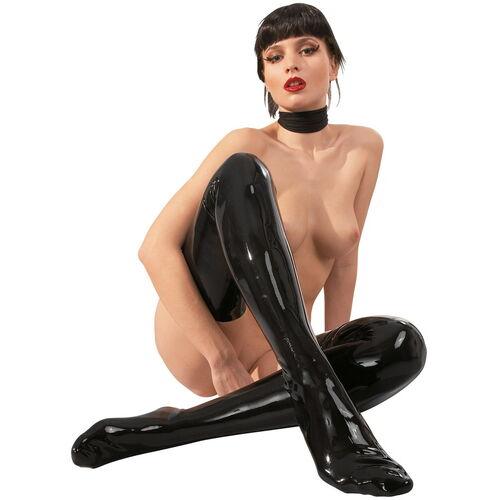 Černé latexové punčochy