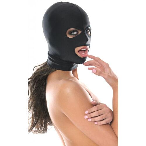 Černá maska s otvory pro oči a ústa Fetish Fantasy