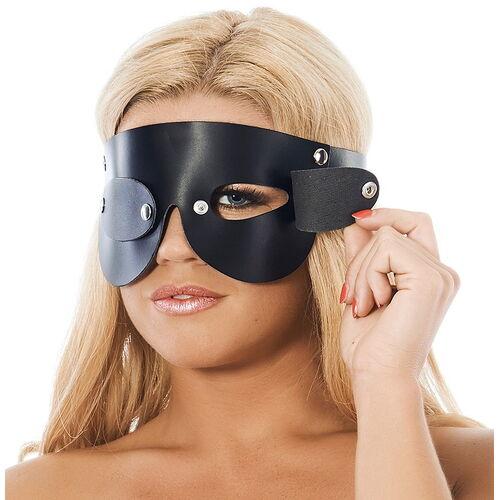 Kožená černá maska na oči s odnímatelnými klapkami
