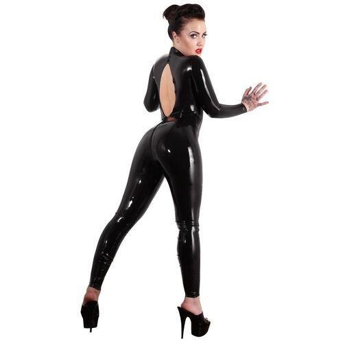 Latexový černý catsuit s výstřihem na zádech - LateX