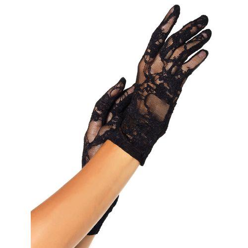 Krátké černé krajkové rukavice Leg Avenue