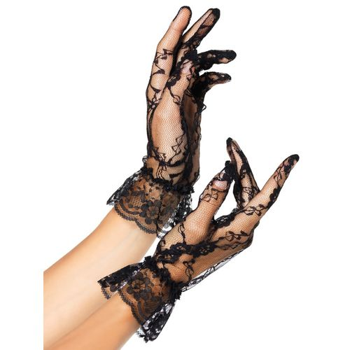 Krátké černé krajkové rukavice s volánkem Leg Avenue